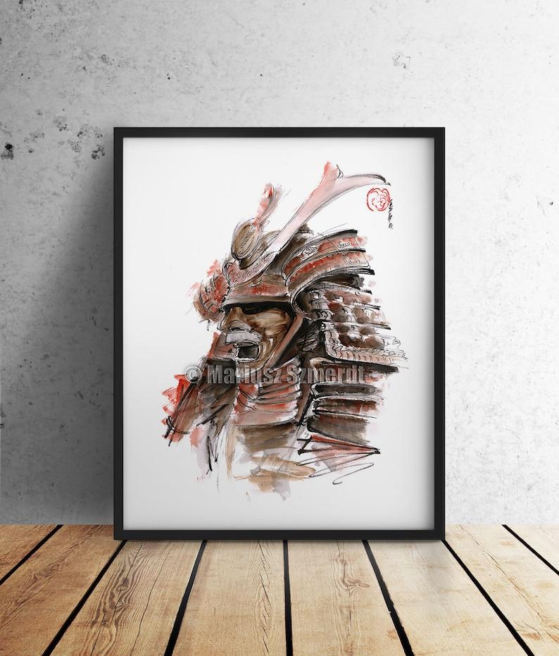 Samurai Helmet Painting Samurai Armor Poster Samurai Armor image 0