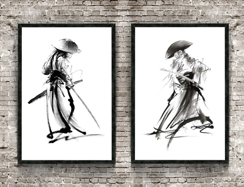 Samurai Set of 2 Print Warrior Poster Japanese Painting image 0