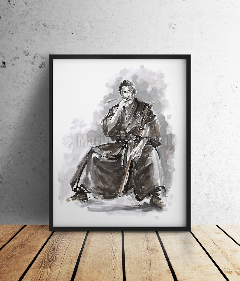 Samurai Warrior Poster. Japanese Warrior Painting. Ronin. 47 image 0