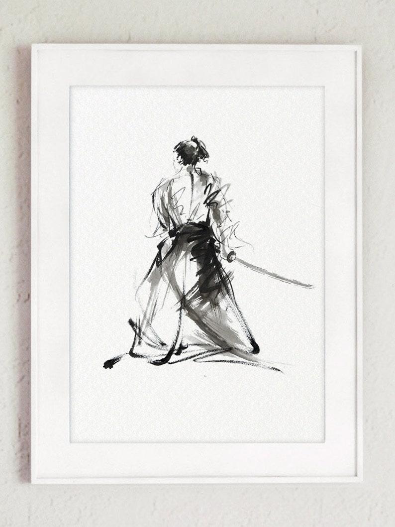 Samurai Art Print Japanese Decor Martial Arts Painting Mens image 0
