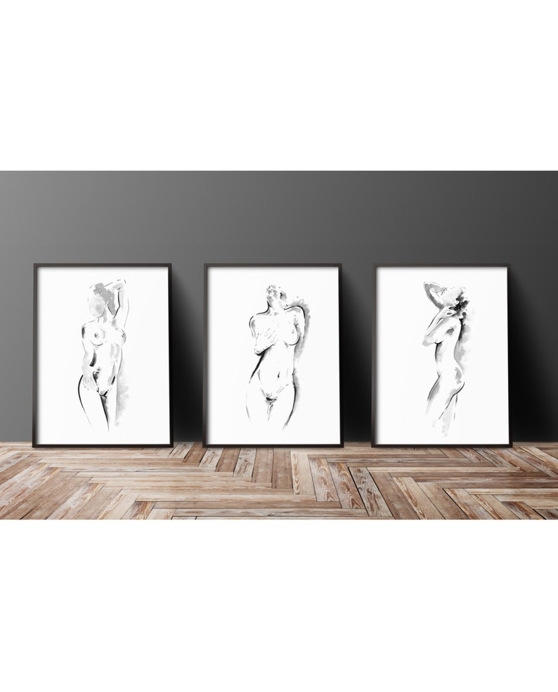 Three nude ladies print