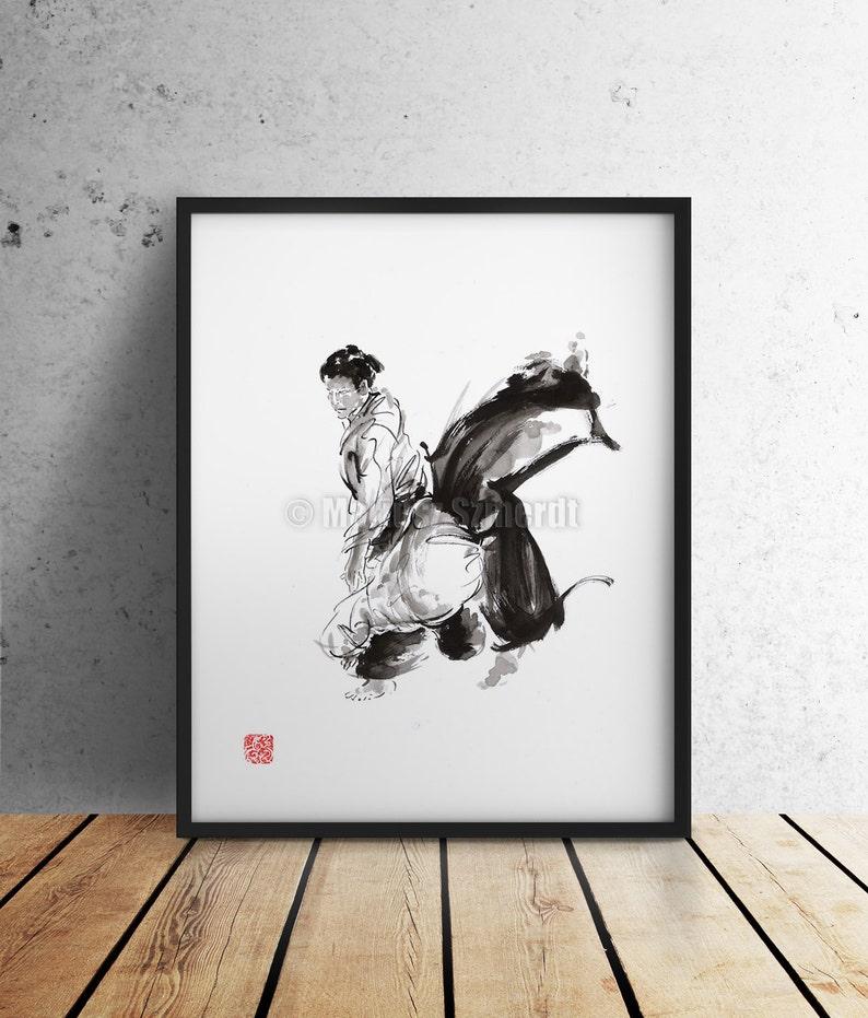 Aikido Surrealistyczny Art Plakat Sztuki Walki Malarstwo Kaligrafii Japońskim Stylu Grafiki