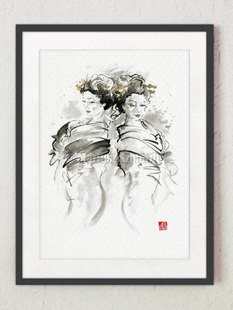 Geisha Nudity Painting Japanese Girls Art Print Wall Art Decor image 0