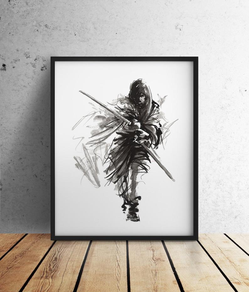 Samurai poster Ronin art print Samurai with sword painting image 0