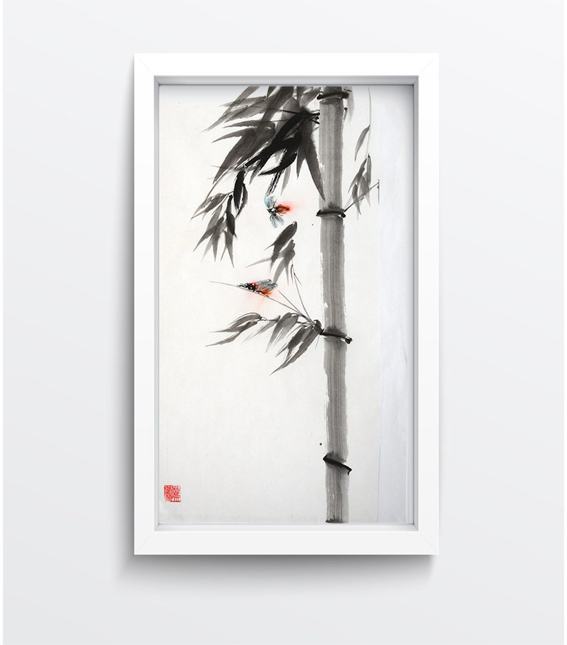 Chinese Painting Bamboo Insect Original Ling Nan Style Art image 0