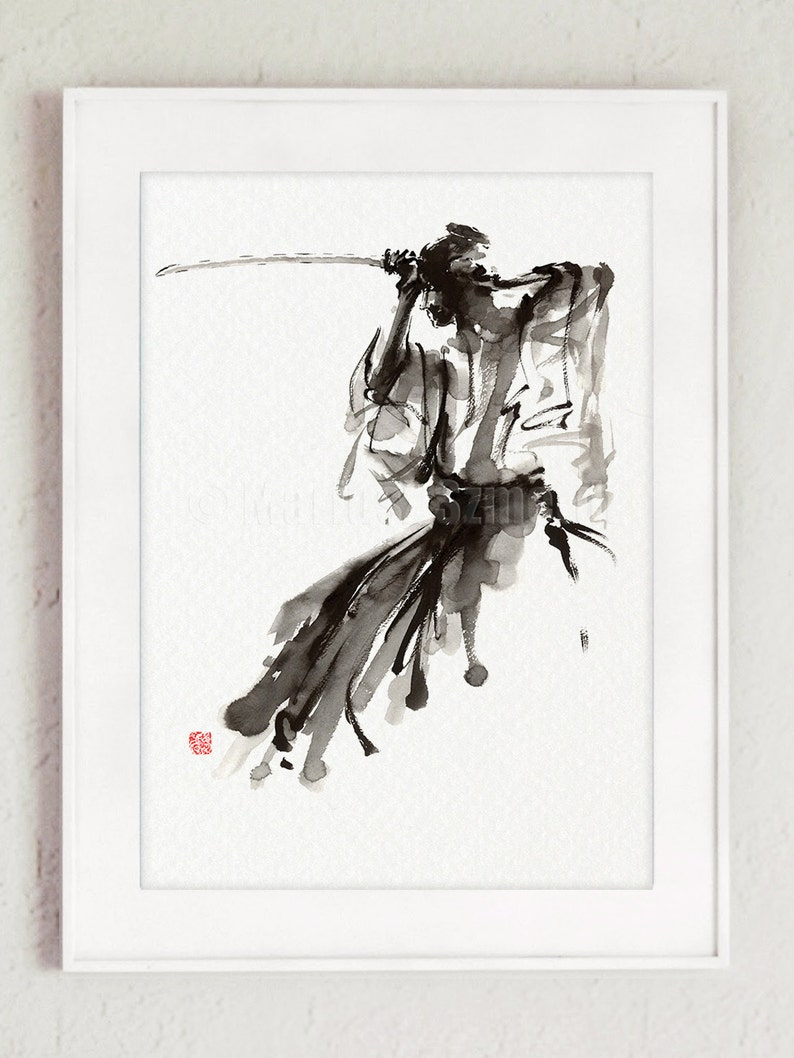 The Soul of Samurai Abstract Painting Calligraphy Style image 0