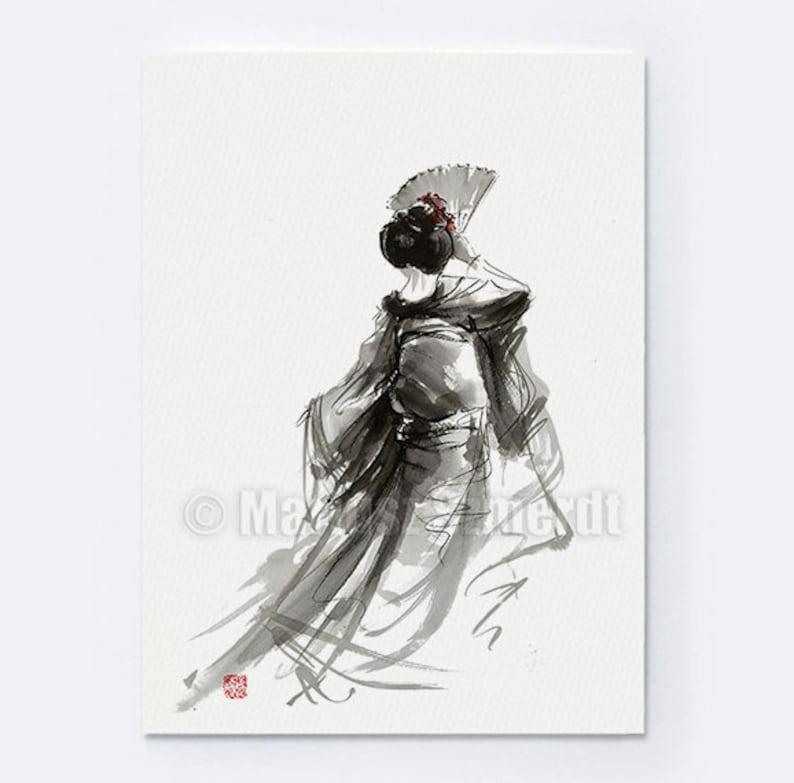 Geisha Painting Geisha with Fan Posters Geisha Home decor image 0