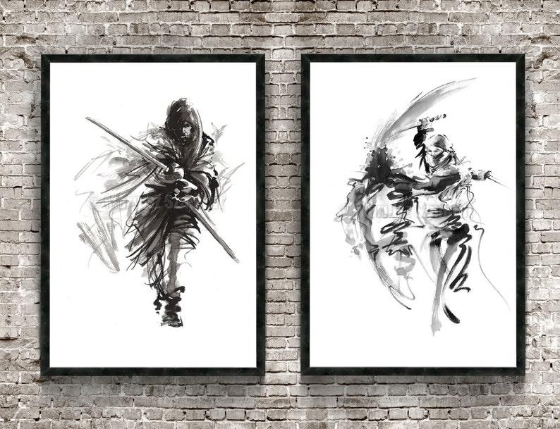 Samurai Warrior Set of 2 Painting Japanese Samurai Poster image 0