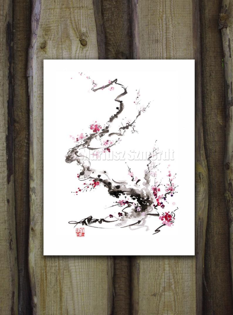 Cherry Blossom poster blossom Branch print  Japanese Cherry image 0