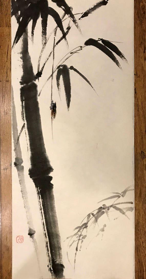 Chinesische Tuschemalerei Bambus Und Insekten Bambus Etsy