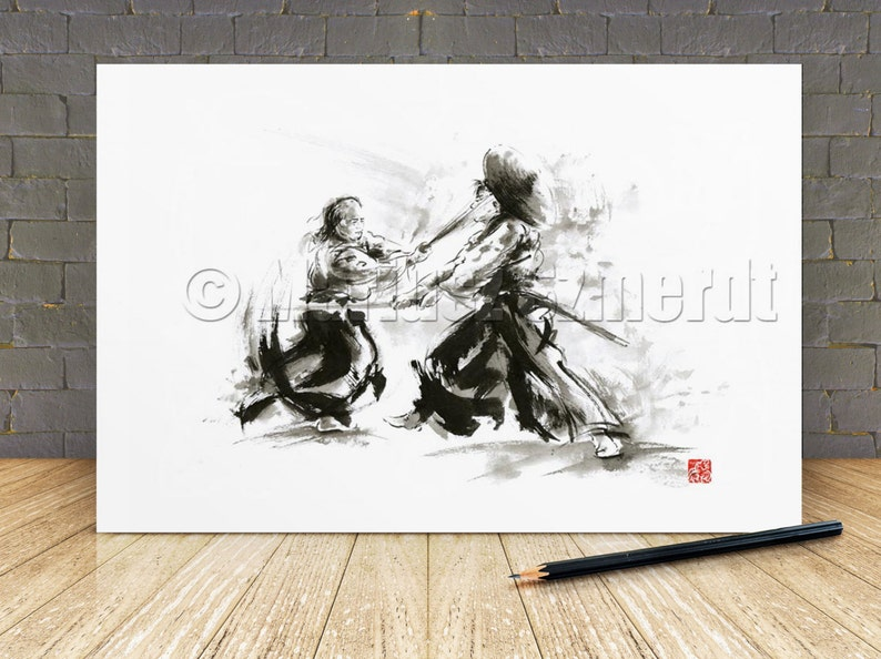 Samurai art print samurai art samurai helmet ronin samurai image 0