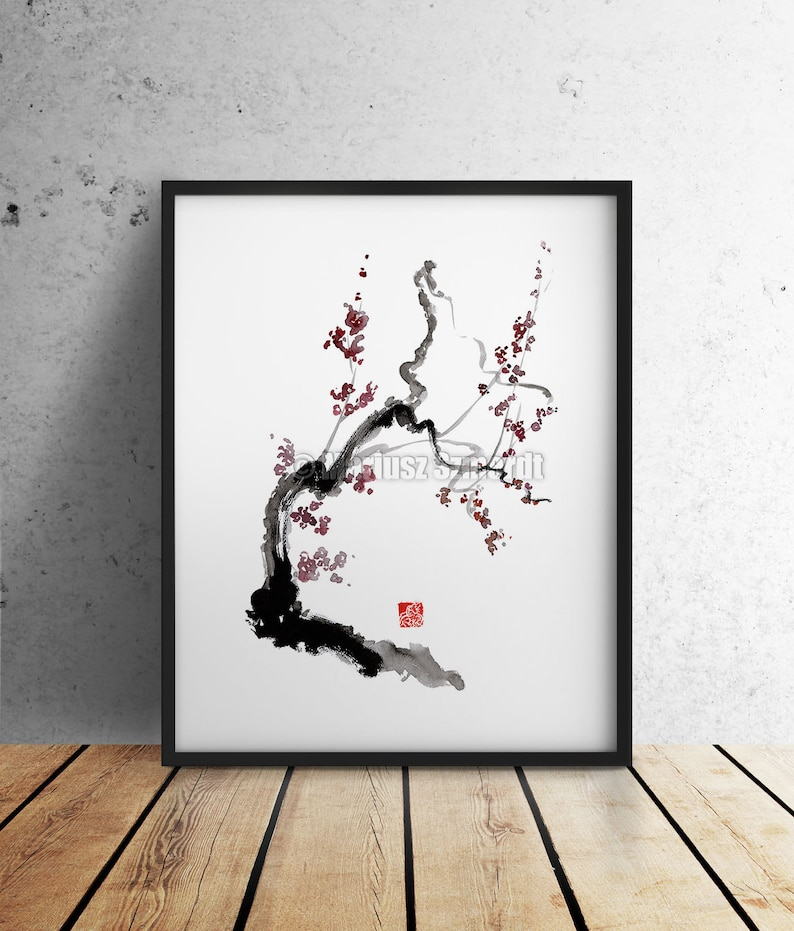 Cherry Blossom Japanese Style Painting. Abstract Art Wall Home image 0