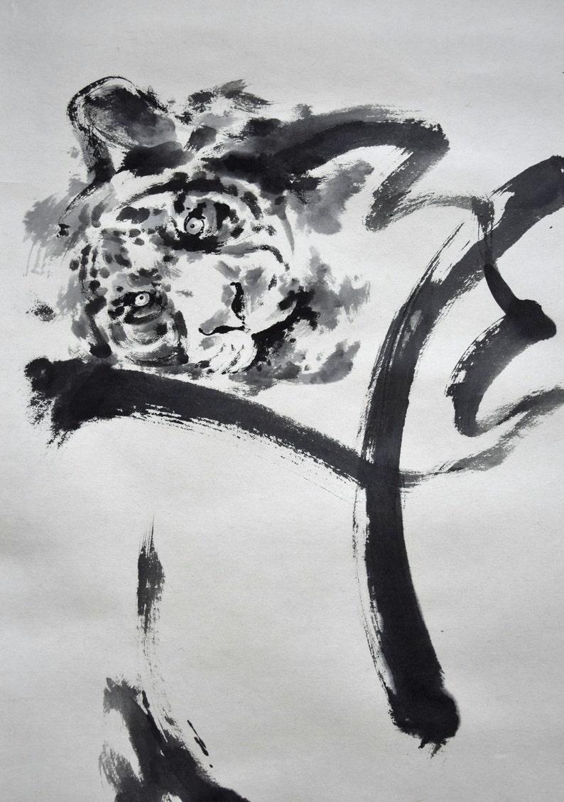 Tiger Abstract Painting Original Zen Art Japanese Artwork image 0