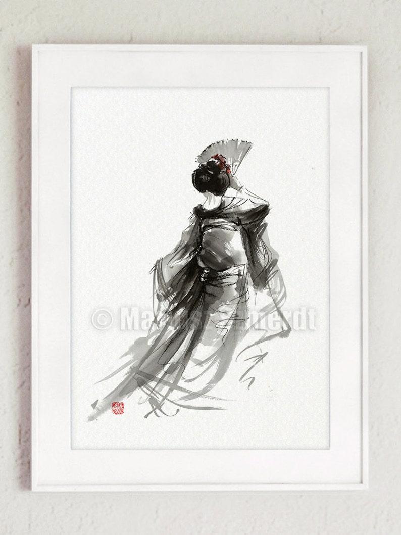 Geisha geisha dance geisha portrait calligraphy poster image 0
