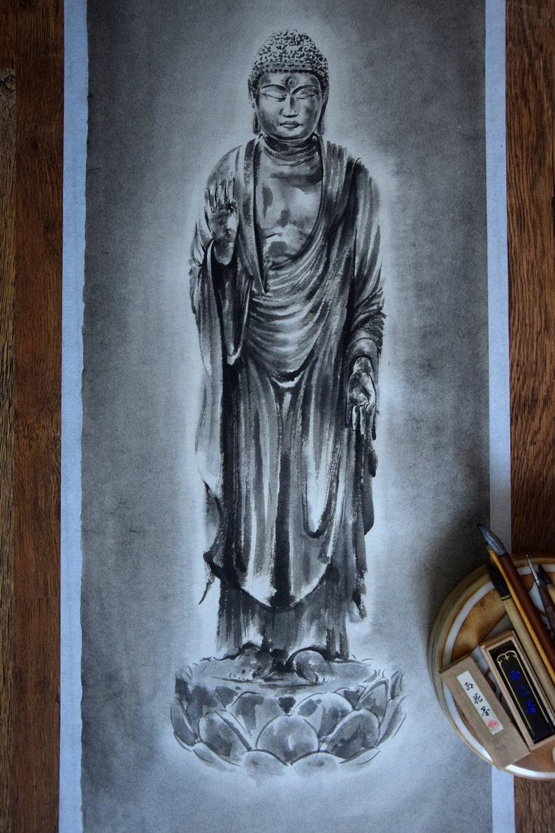 Buddha Painting Amithaba Opame Zen Art Japanese Artwork image 0