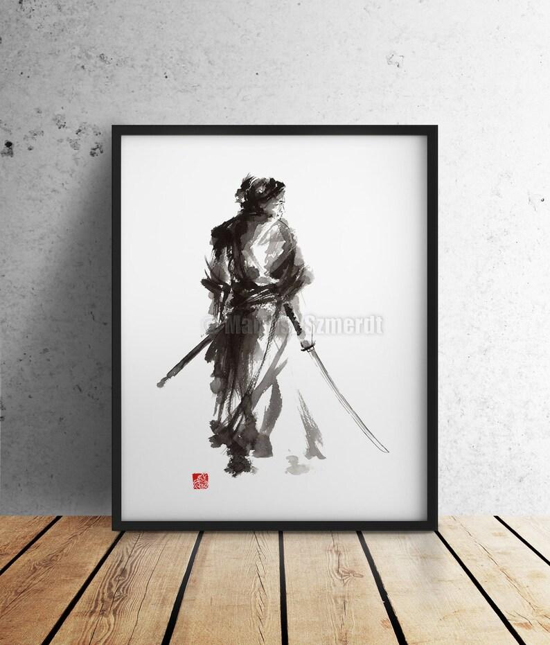 Samurai Painting Watercolor Poster Japanese Illustration image 0