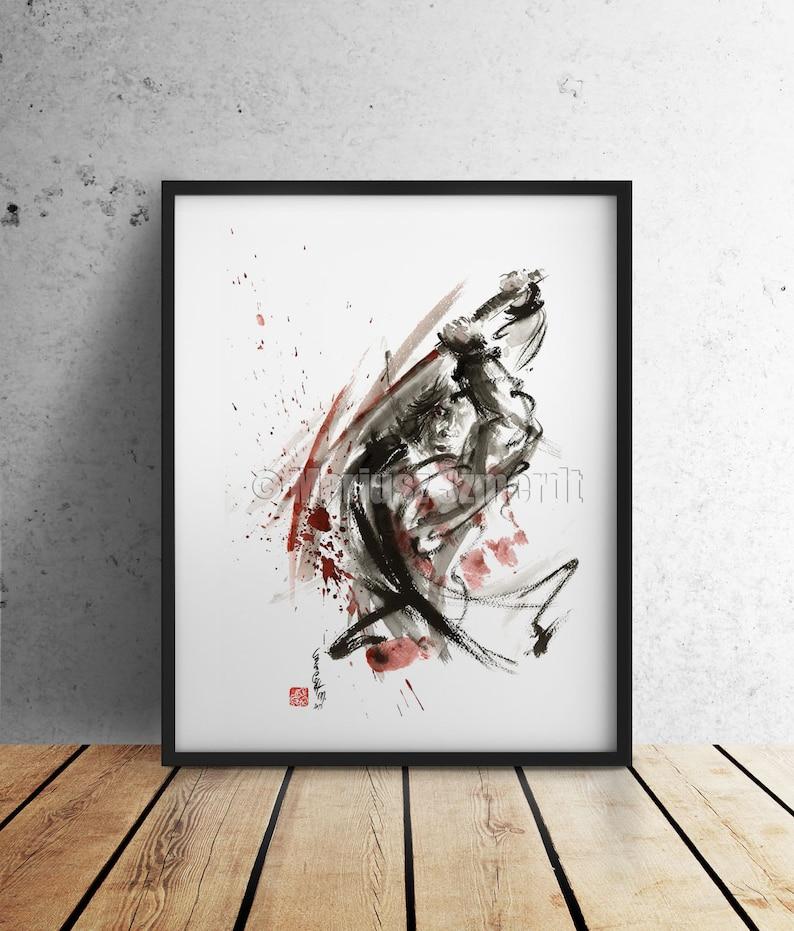 Samurai sword, samurai print, samurai, japanese warrior, japanese art,  abstract painting, samurai art