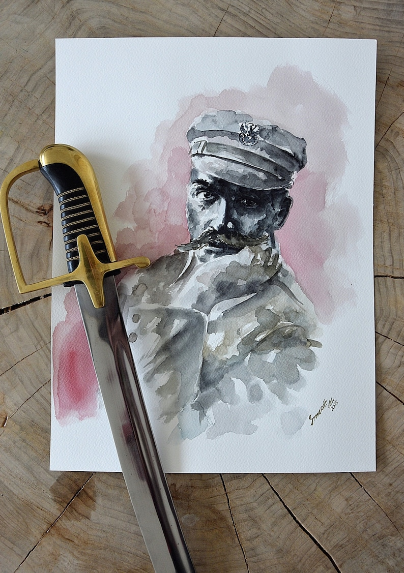 Józef Piłsudski Polish Marshal Portrait Original Watercolor image 0