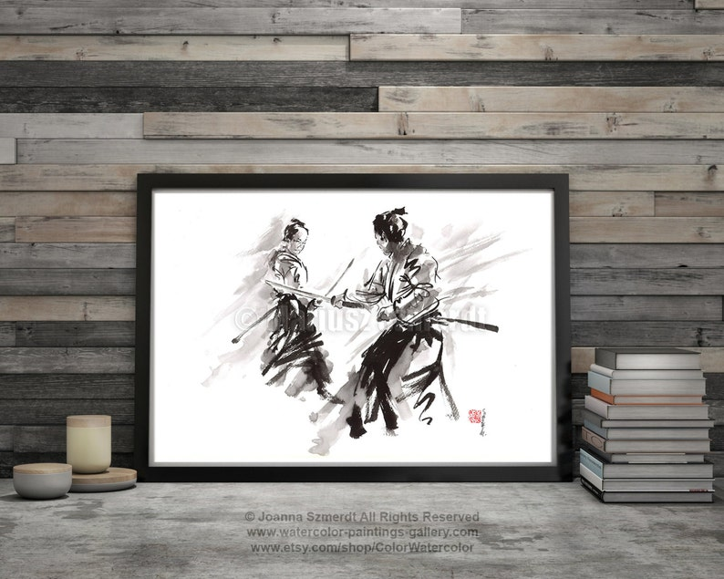 Samurai Poster Warrior Sword Fight Japanese Calligraphy Art image 0