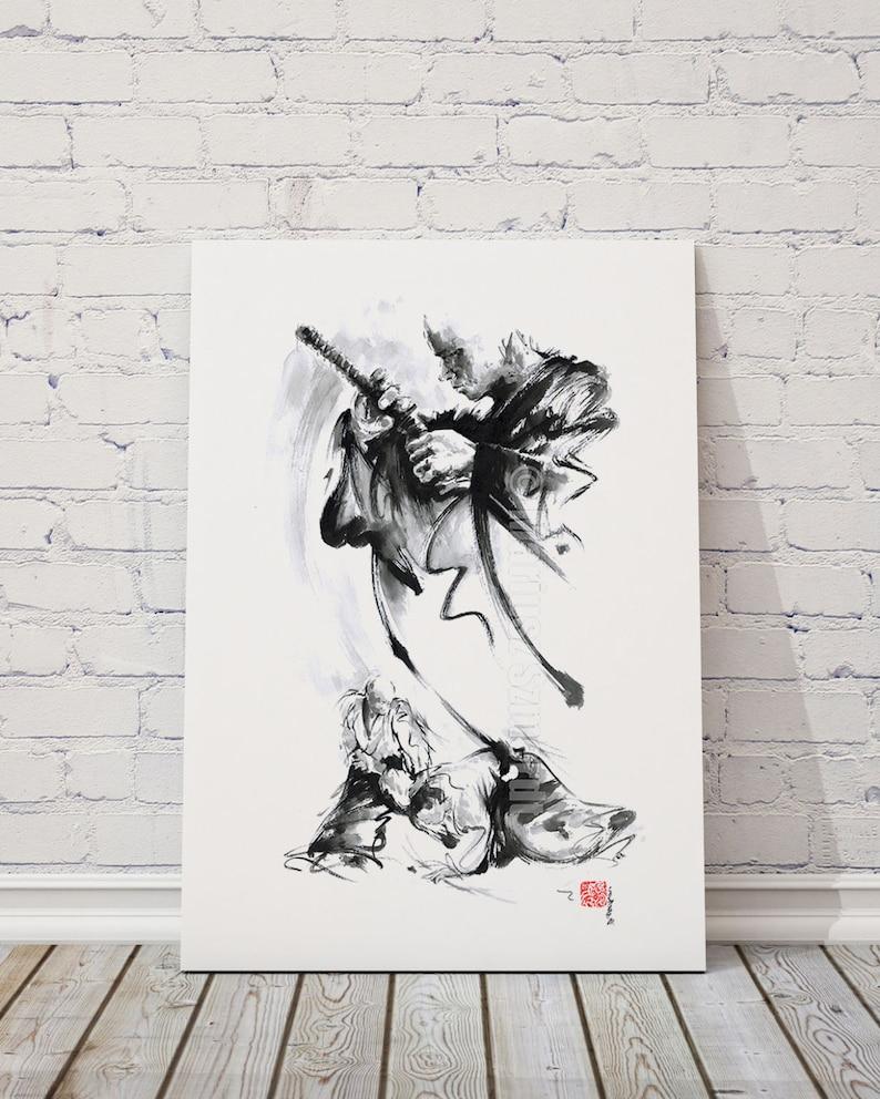 Aikido poster prints aikido dojo poster japanese ink image 0