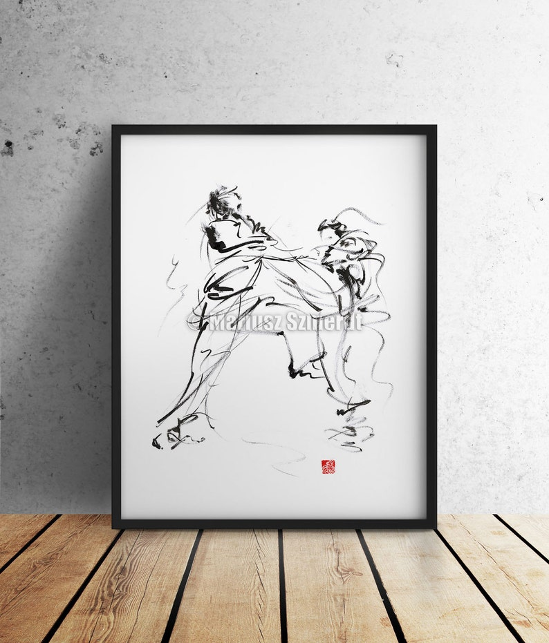 Karate Poster Martial Arts Wall Home Decor Calligraphy Style image 0