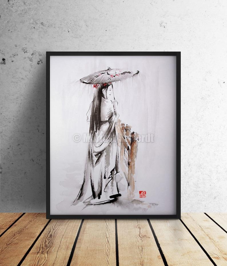 Geisha Portrait Oriental Watercolor Art Beauty Woman Poster image 0
