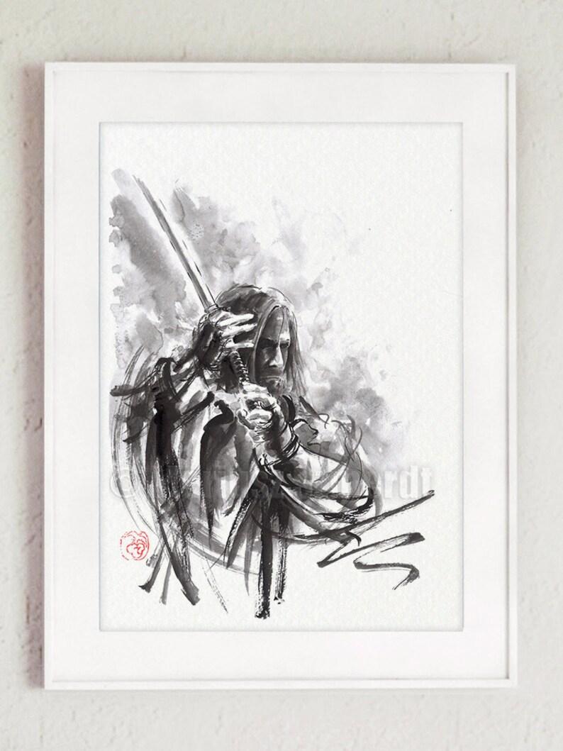 Ronin Samurai Poster Japanese Art Abstract Calligraphy image 0