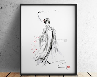 Geisha calligraphy art print japan woman painting watercolor art.