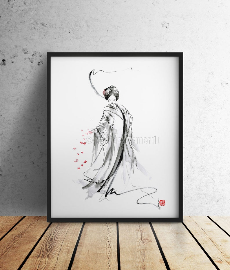 Geisha calligraphy art print japan woman painting watercolor image 0
