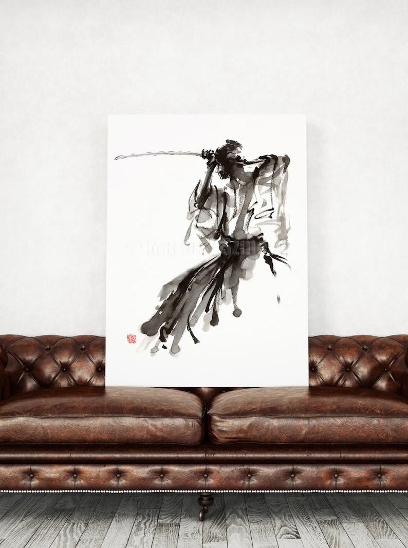 Samurai Paintings Samurai Home Decor Japanese Warrior Wall image 0