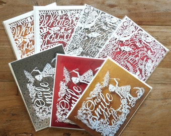 SALE Set of 7 Greeting cards - Paper cut art greeting cards - Blank double greeting card - Folded greeting card set - Papercutting cards