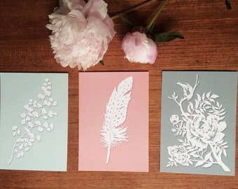 Set of 3 Postcards of original paper cut art - Papercutting print - Paper cut art print - Postcards  - Boho postcards - Any occasion cards