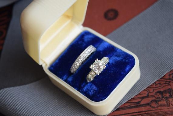 Vintage  Double Ring Box, Celluloid Velvet wedding