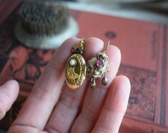Victorian Marriage Earrings, Mismatched Gold Fill Antique Dangle Earrings, Jewelry gift for her