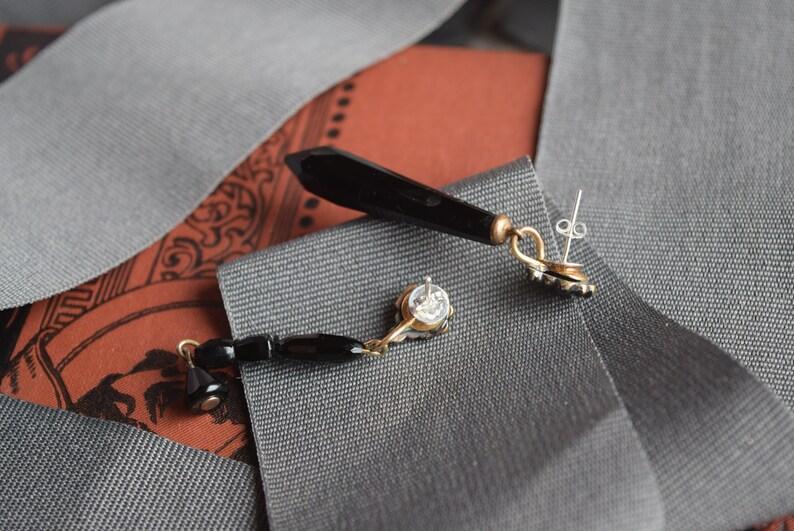 Antique Bohemian Garnet Whitby Jet Marriage One of a Kind Pierced Earrings OOAK Garnet Jet Dangle Earrings Jewelry gift for her
