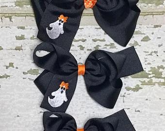 Halloween Hair Bow, Ghost Hair Bow, Embroidered Hair Bow