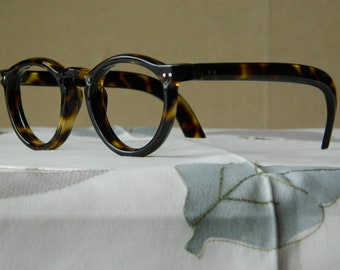 003cf1f4439be True Vintage Rare Round Panto Hand Made 5 BRL Eyeglasses Frame Thick 8 mm  Made in France.40 s-50 s NOS. EXC