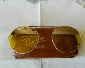 beb9d83c756 ... ireland true vintage rare bausch lomb ray ban kalichrome gradient  mirror lenses clip on sunglasses 1940s