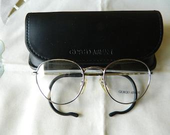 9168266173b5a Vintage Rare Panto Giorgio Armani eyeglasses frame Mod 164 707 Coil Arms 50  x 20 80 s. Made in Italy. NOS.