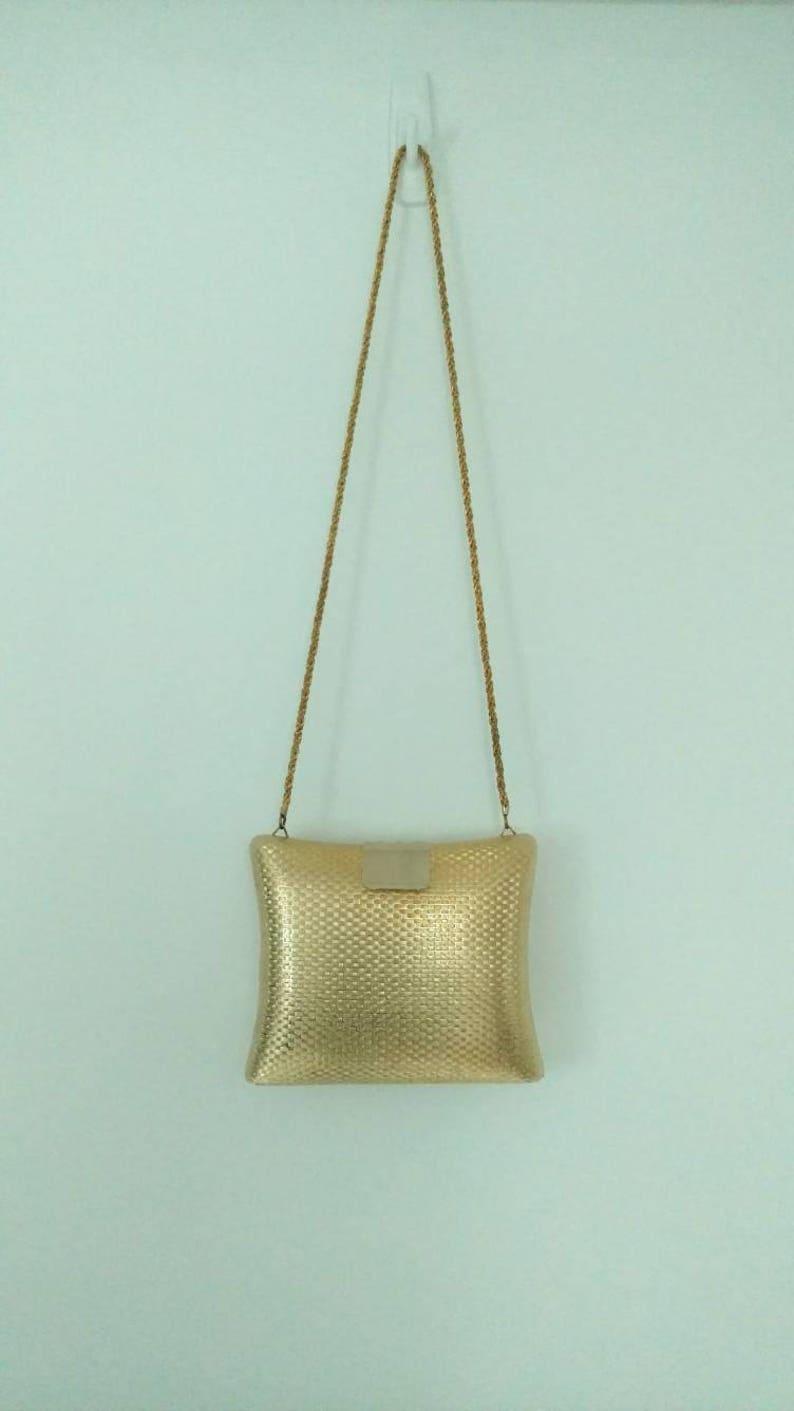 c0906298efa2 Vintage Magid Hard Shell Gold Clutch handmade in Italy