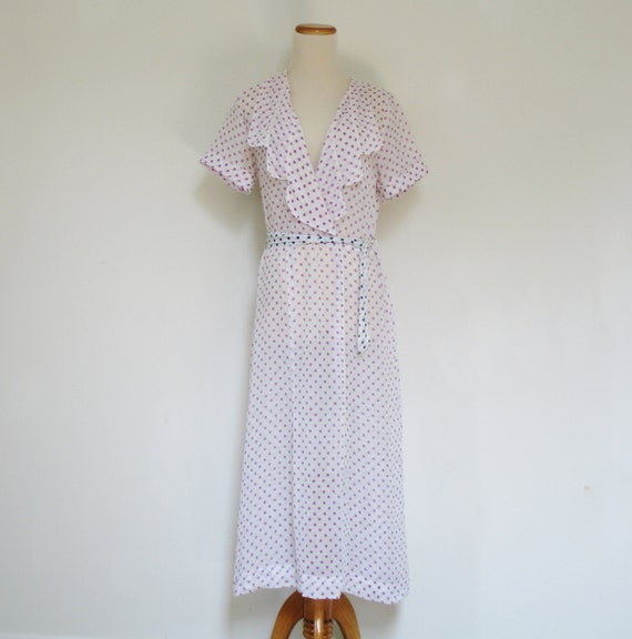 30s Antique Vintage Polka Dot Novelty Print Belted