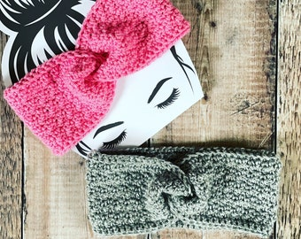 Twisted Sister Seed Stitch Ear Warmer Crochet Pattern by MadameStitch; PDF Download only