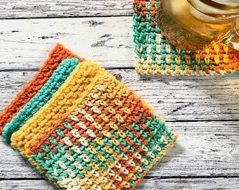 Linen Stitch Mug Rug; Mug Rug Crochet Pattern; Downloadable Pdf; Beginner friendly crochet pattern