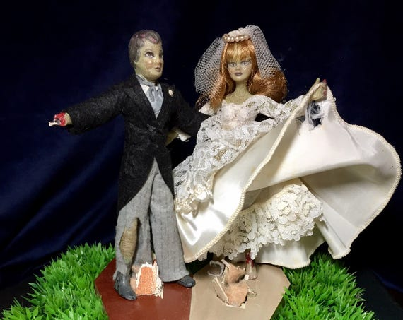 Mr. & Mrs. Zonbie Original Undead Till Death Wedded Zombie Bride And Groom Bliss Biohazard Newlyweds