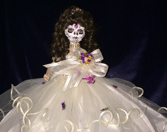 Anjelah Xi Balba Original Undead Sugar Skull Day Of The Dead Porcelain Quinceanera Biohazard Baby