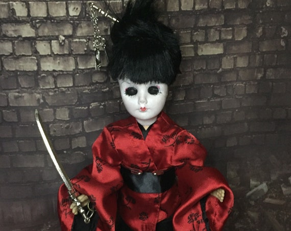 Vintage Efanbee Doll Custom Samurai Sword Wielding Original Biohazard Baby Assassin With Removable Hair Pin