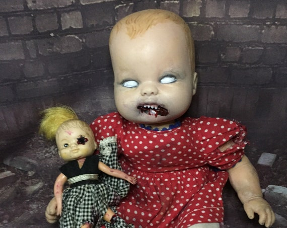 Cannibal Child Undead Little Girl With Eaten Dolly Sharp Teeth Zombie Biohazard Baby
