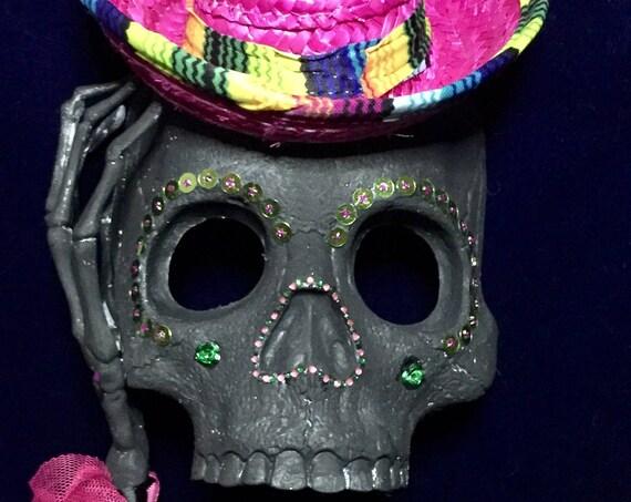 Pink Sombrero Sugar Skull Masquerade Day Of The Dead Dark Halloween Dia De Los Muertos Biohazard Baby Mask