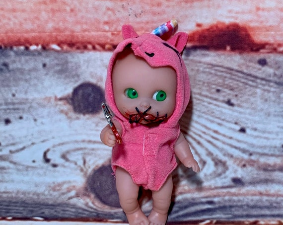 Original Berenguer Vinyl Doll Stitched Mouth Custom Side Eyes Dressed In Summer Play Suit Holding Miniature Scissors Biohazard Baby