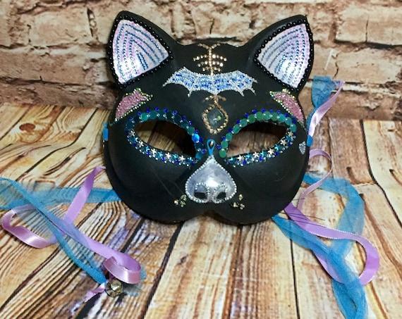 Jeweled Black Cat Sugar Skull Wearable Day Of The Dead Original Masquerade Wall Decor Biohazard Baby Mask